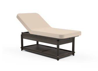 Oakworks Massage Table, Manual Adj Lift-Assist Backrest with walnut finish
