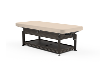 Oakworks Massage Table, Hydraulic Flat Top, CLINICIAN with walnut finish