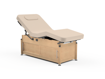 Oakworks Massage Table, Electric Lift-Assist Salon, CLINICIAN with optional cabinet