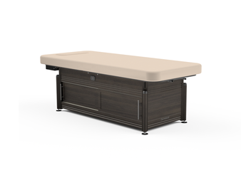 Oakworks Massage Table, Electric Flat Top, CLINICIAN with cabinet in walnut