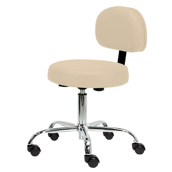 Earthlite Massage Furniture, Pneumatic Rolling Stool w/Back, beige