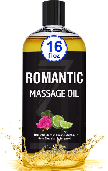 Seven Minerals Massage Oil, Romantic, 16oz