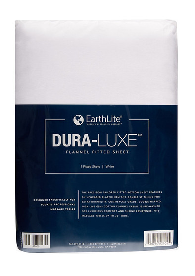 Earthlite Massage Table Sheet, Flannel, Fitted, DURA-LUXE, White