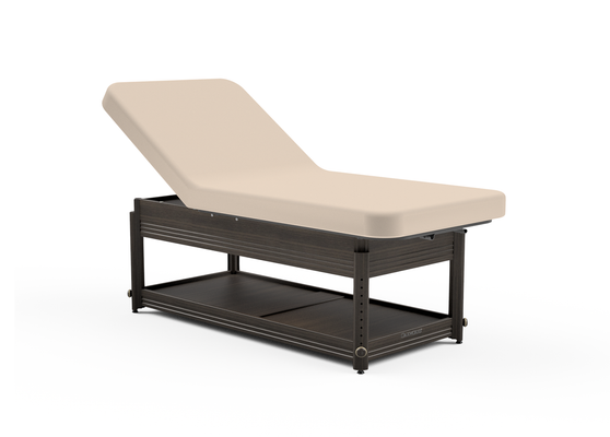 Oakworks Massage Table, Manual Adj Lift-Assist Backrest with walnut finish