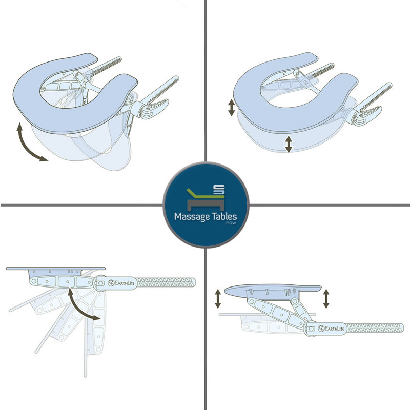 Earthlite Deluxe Adjustable Head Rest with Face Pillow - features