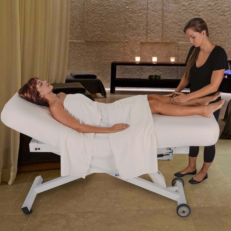 Earthlite Ellora Salon Stationary Massage Table - in use