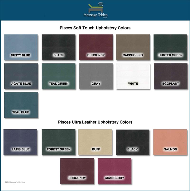 Pisces Pro New Wave II Lite Portable Massage Table-color chart