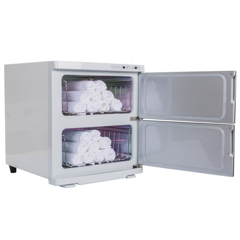 Earthlite Large Double Door UV Hot Towel Cabinet - open