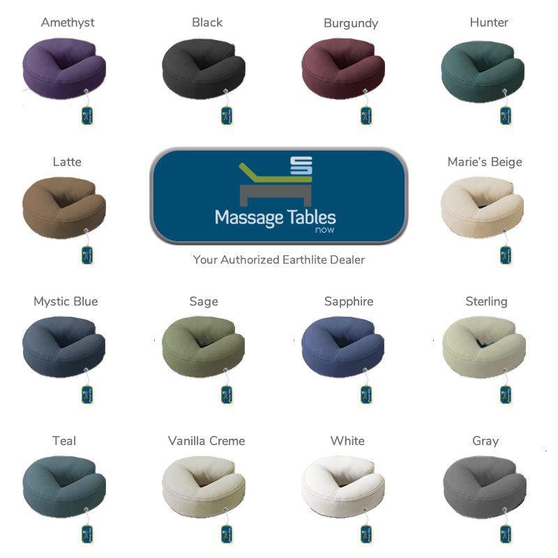 Earthlite Crescent Head Rest Platform with Face Pillow - color chart