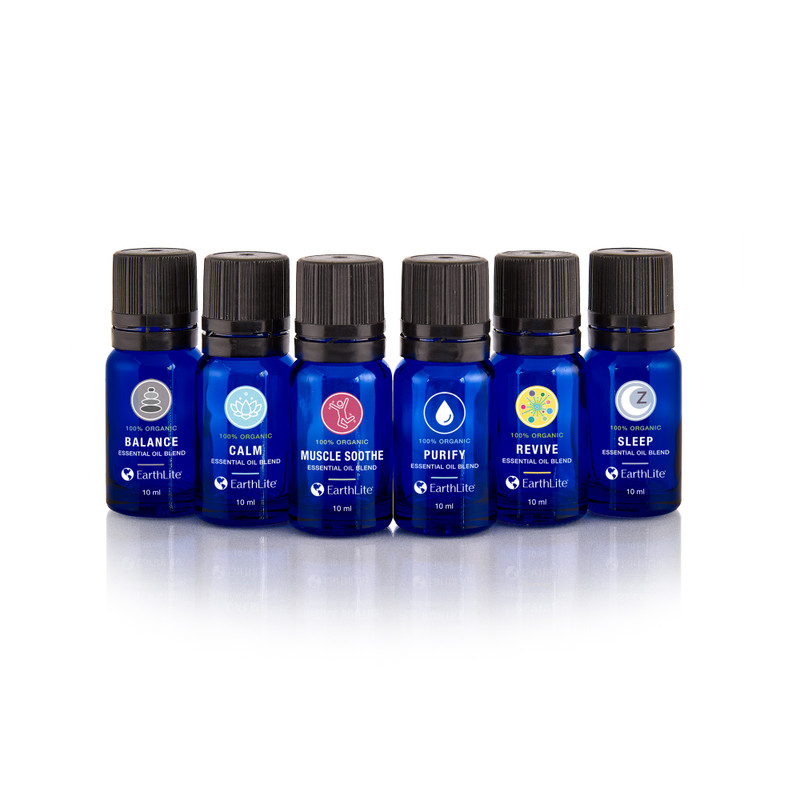 Earthlite Organic Essential Oil Blends, 10ml, Kit of 6 Scents