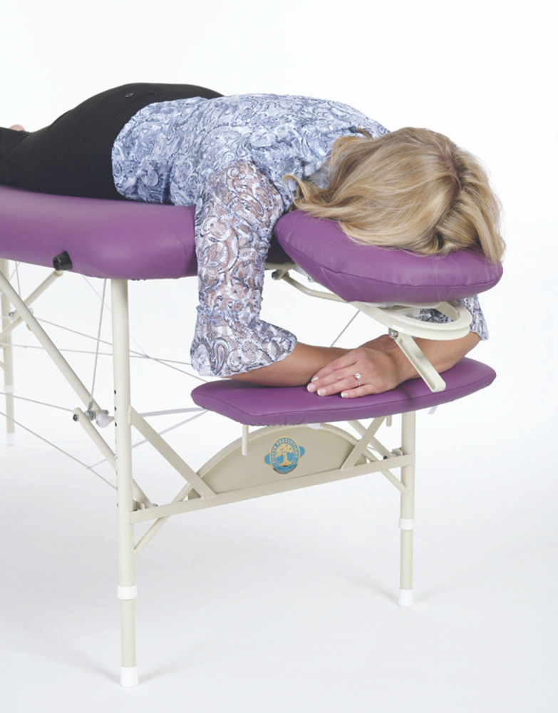Pisces Pro Massage Table Arm Rest, Front in use