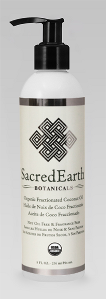 Sacred Earth Botanicals Massage Oil, Certified Organic Fractionated Coconut, 8 0z