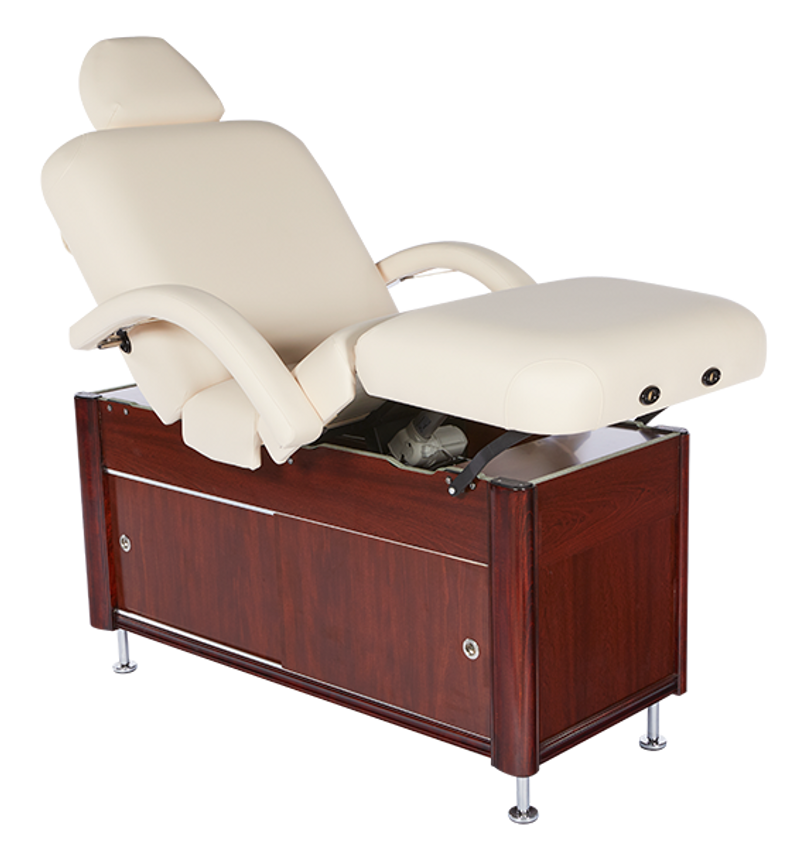 Custom Craftworks Signature Series Electric Spa Table, E100 Deluxe, with leg cushion raised