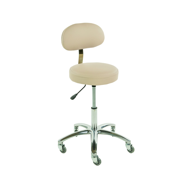 Touch America Therapist/Technician ProStool with Back, High Piston, Almond