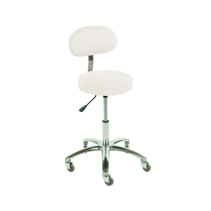 Touch America Therapist/Technician ProStool with Back, High Piston, White