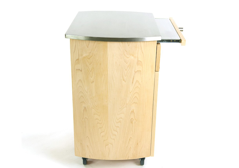 Touch America Rolling Spa Cabinet, TIMBALE, Stainless Steel Top, side view