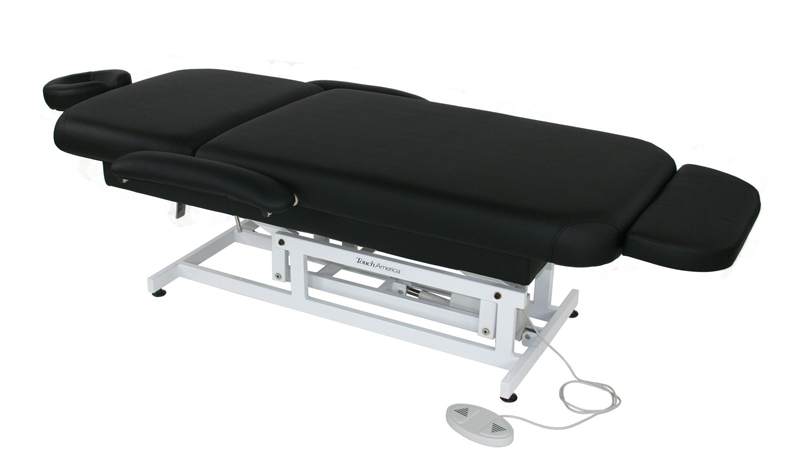 Touch America ADA Powered Lift Treatment Table, HILO FACE & BODY, flat (shown with add-on accessories not included)