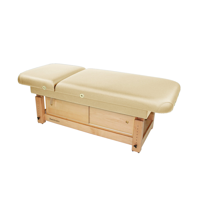 Touch America Stationary Treatment & Massage Table, FACE & BODY, Almond with optional cabinet