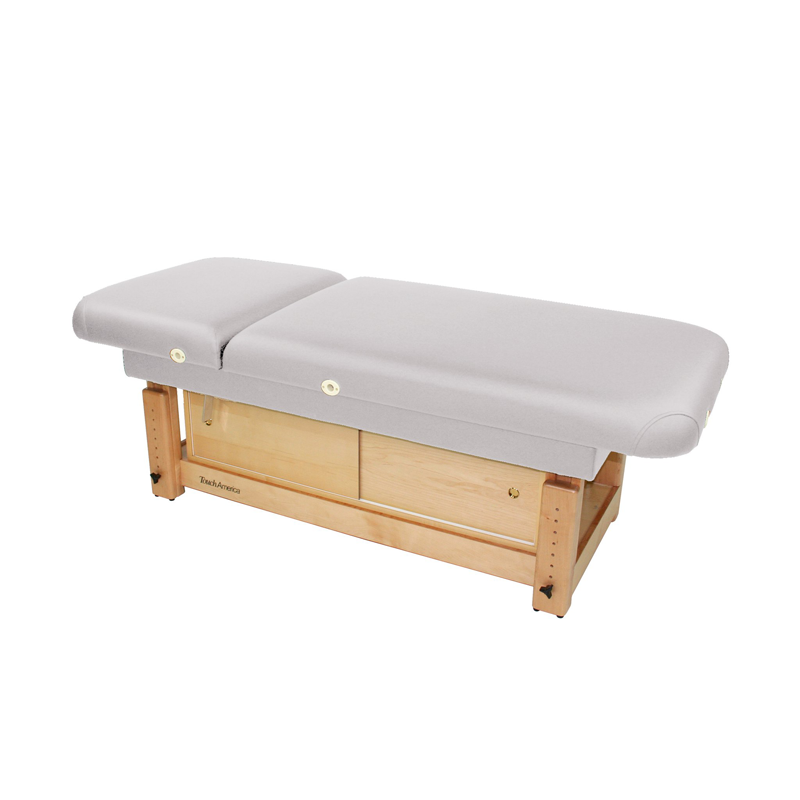 Touch America Stationary Treatment & Massage Table, FACE & BODY, Pebble with optional cabinet