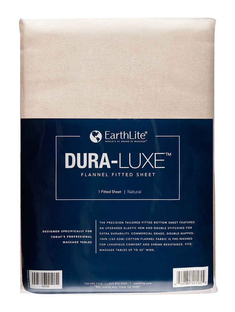 Earthlite Massage Table Sheet, Flannel, Fitted, DURA-LUXE, Natural