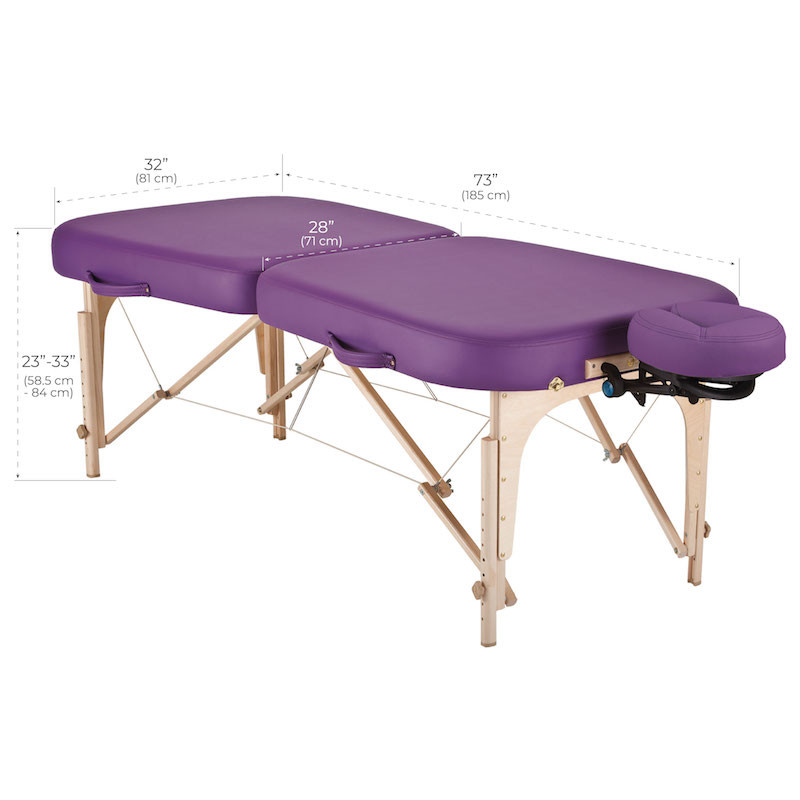 Earthlite Portable Massage Table, INFINITY dimensions
