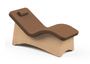 Oakworks Curva Lounger with Earth Upholstery and Natural Finish