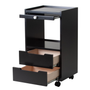 Earthlite Spa Furniture, Trolley, Alpha 2, Midnight Black, Open Drawers