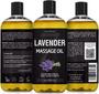 Seven Minerals Massage Oil, Lavender, 16oz, Front and Back Labels