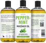 Seven Minerals Massage Oil, PEPPERMINT, 16oz, Front and Back Label