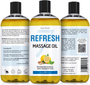Seven Minerals Massage Oil, Refresh, 16oz, Front and Back Label