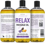 Seven Minerals Massage Oil, Relax, 16oz, Front and Back Label