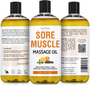 Seven Minerals Massage Oil, Sore Muscle, 16oz, Front and Back Label