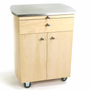 Touch America Rolling Spa Cabinet, TIMBALE, Stainless Steel Top, Maple