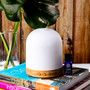 Earthlite Aromatherapy Diffuser and Bluetooth Speaker in Use