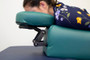 Oakworks Proning Cushion, Extended Prone Positioning, in use closeup