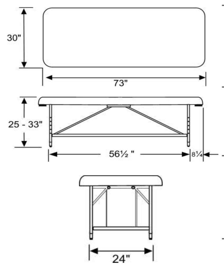 Aphrodite Stationary Wet/Dry Table Dimensions