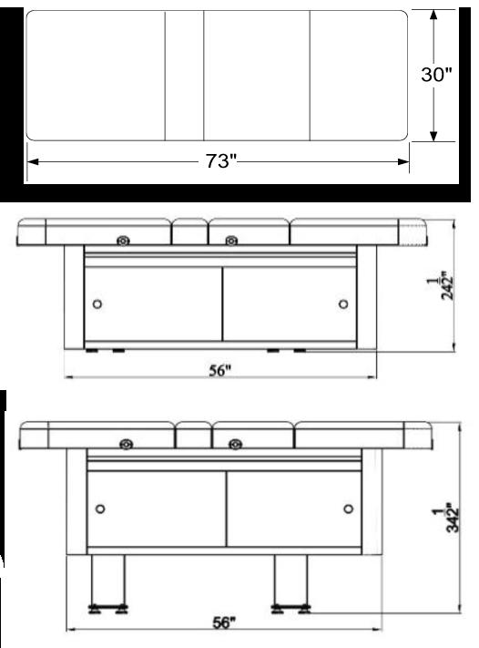 Atlas Contempo Treatment Table Dimensions