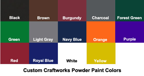 Custom Craftworks Powder Coat Paint Colors