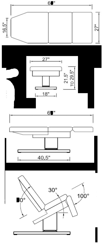 Empress Treatment Table Dimensions
