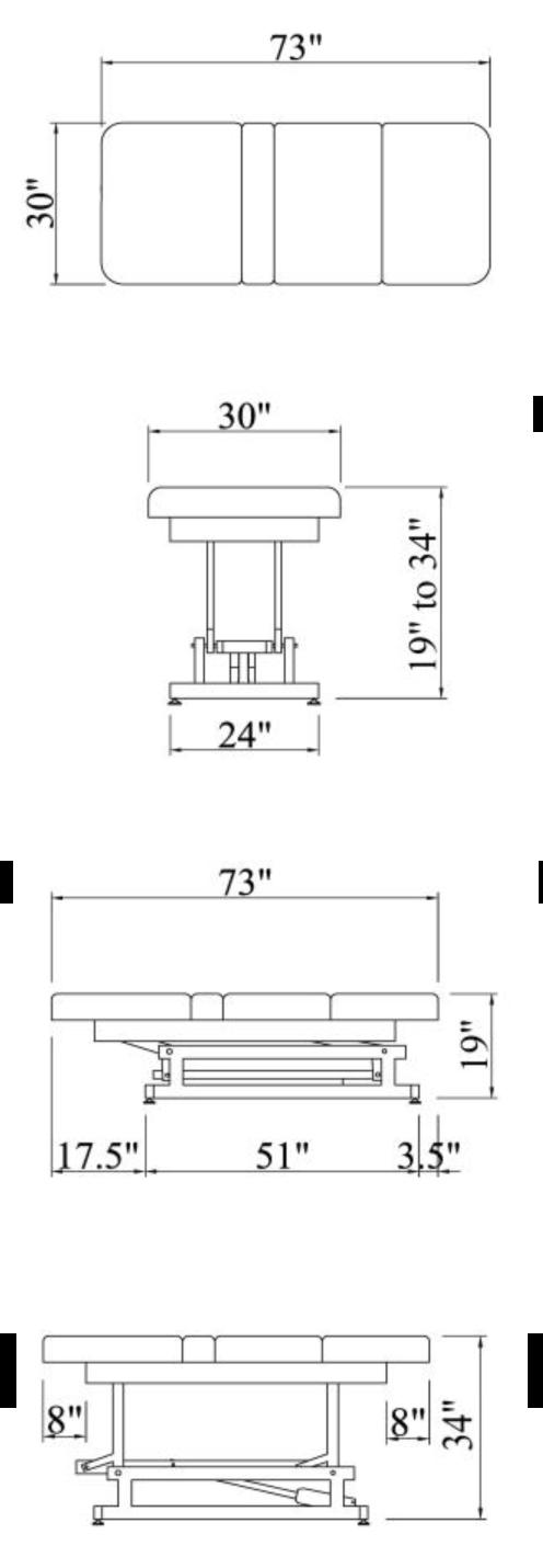 HILO Treatment Table Dimensions