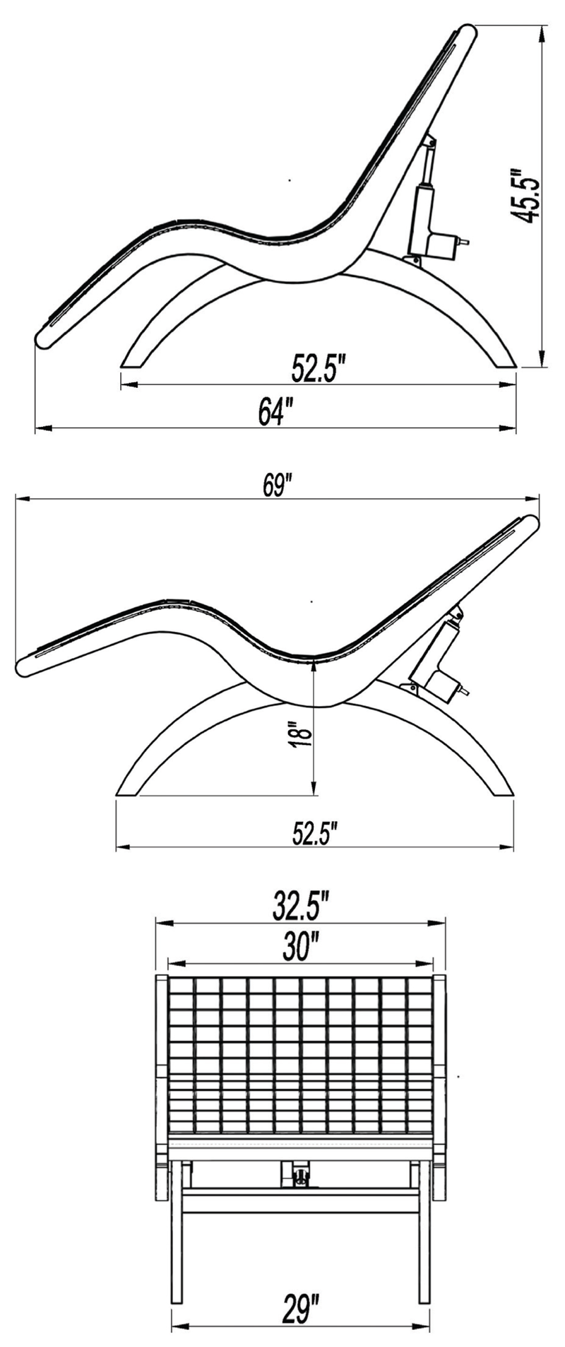Legato Relaxation Lounge Dimensions