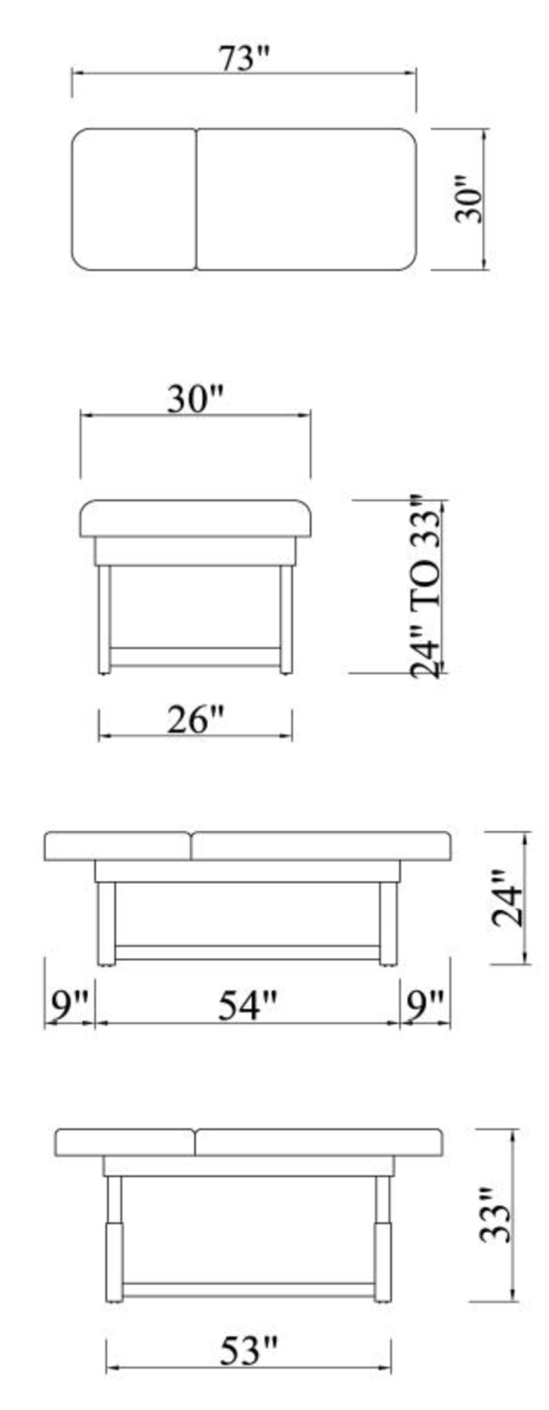 Touch America Stationary Massage Table Dimensions