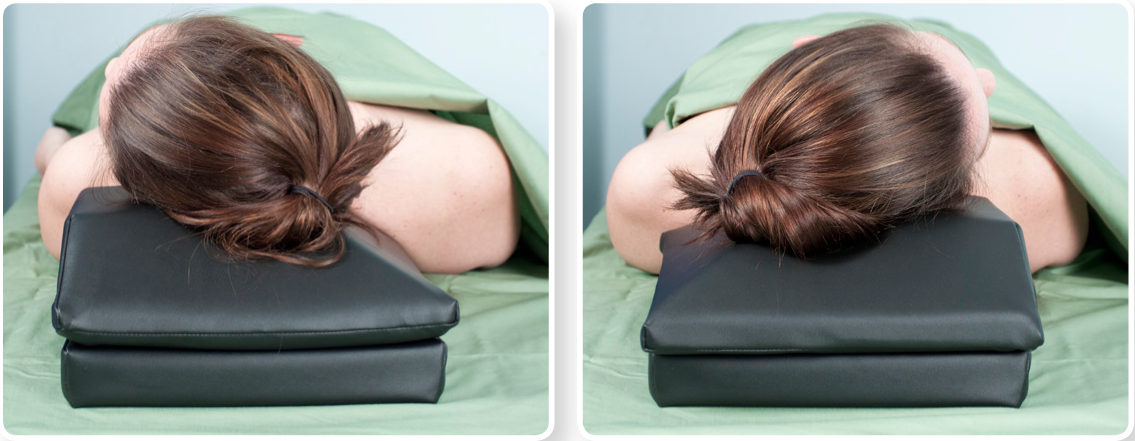 Left or right positioning of the supine pillow