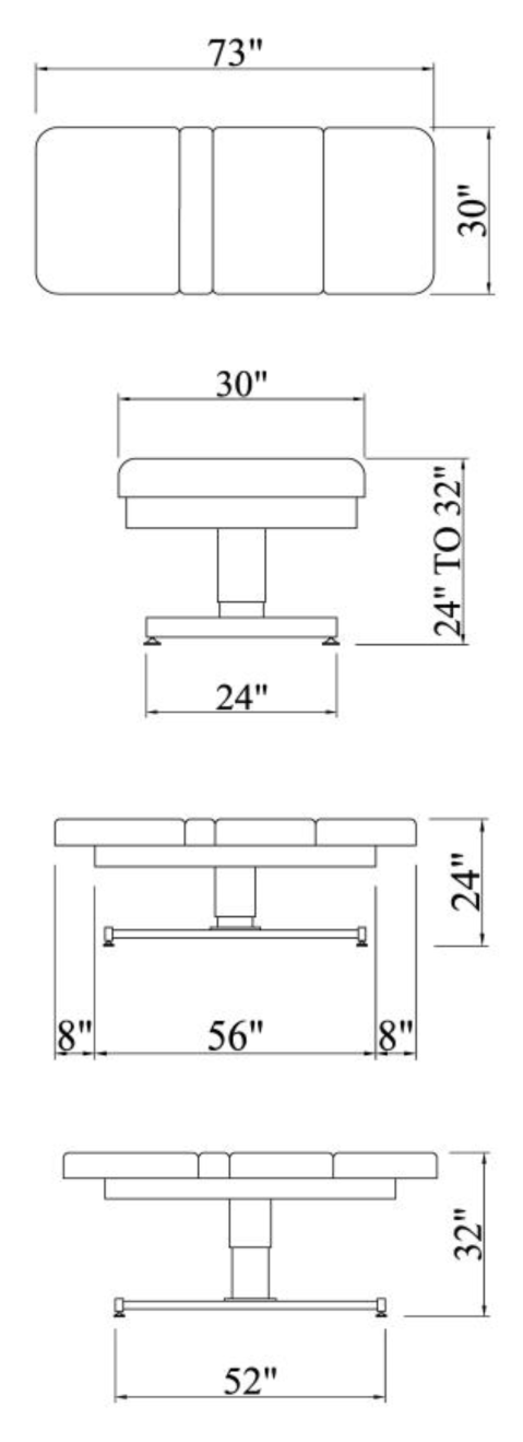 Venetian Treatment Table Dimensions