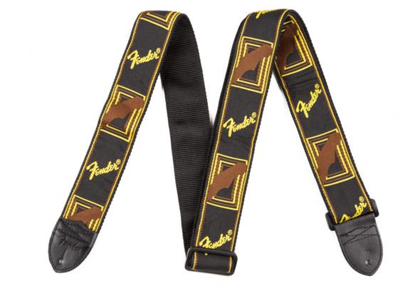"Fender Guitar Strap  2"" Monogrammed Straps ( Black / Yellow / brown )"