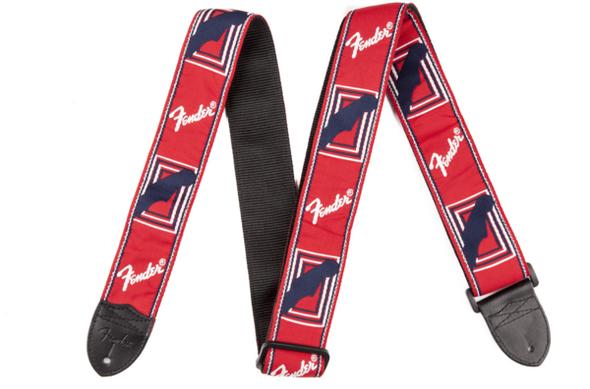 """Fender Guitar Strap 2"""" Monogrammed Straps (Red / White / Black  )"""