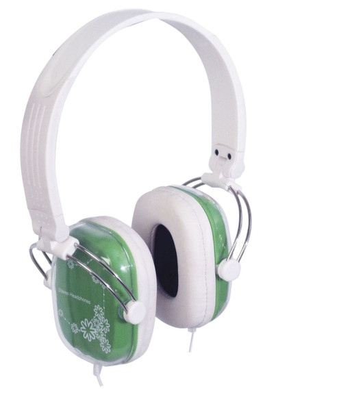 Stereo Headphones Green And White With 6.3mm Adaptor