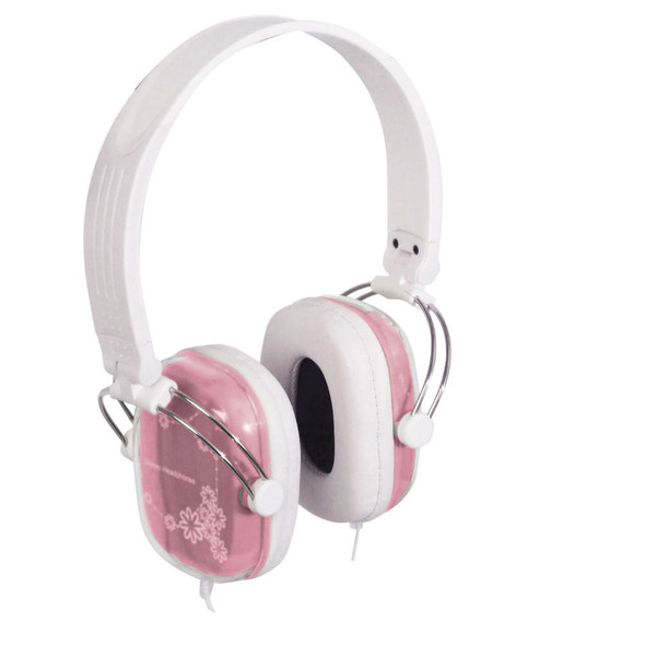Stereo Headphones Pink And White With 6.3mm Adaptor