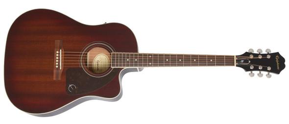 Epiphone AJ-220SCE Solid Top Electro Acoustic Guitar - Mahogany Burst