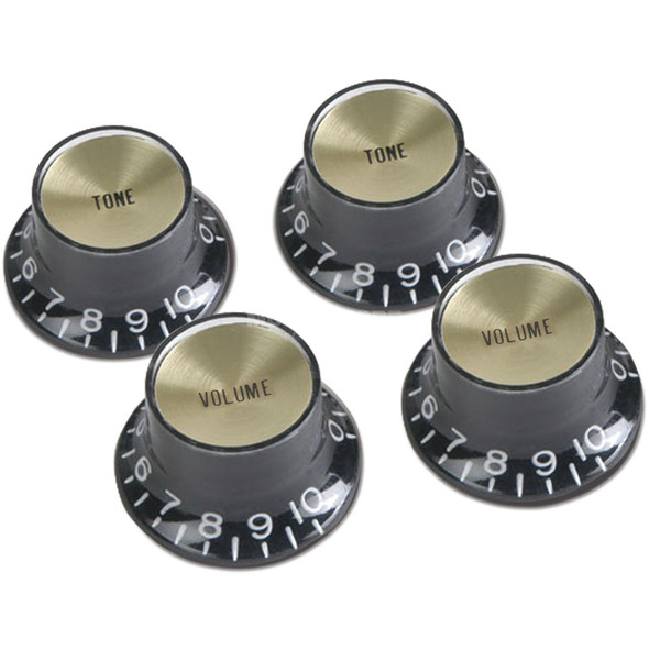 Gibson Black/Gold Top Hat Knobs Set Of 4